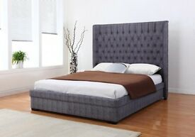 *NEW* rrp. £699! Genesis 4ft 6 Grey Fabric Bed & High Quality Orthopedic Memory Foam Mattress