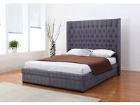 *NEW* rrp. £699! Genesis 4ft 6 Grey Fabric Bed & High Quality Orthopedic Memory Foam Mattress