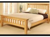 Nice wooden double Bed with mattress (delivery available)