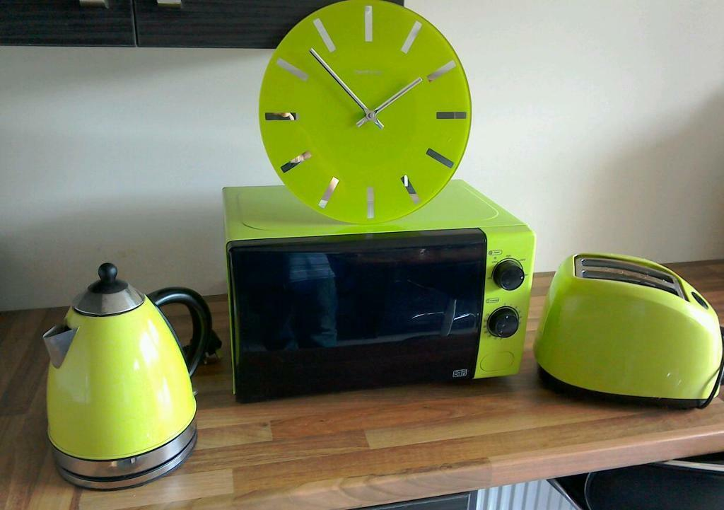 Lime Green Microwave Kettle Toaster And Clock Set