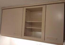 Cream kitchen units including fridge and slimline dishwasher (used);