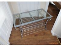 COFFEE TABLE. Grey metal with glass inset top. Good condition