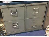 Retro Heavy Duty Vickers 2 Drawer Metal Storage/Filing Cabinets + 1 Key