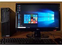 "Excellent Spec Lenovo Win 10 64 Bit PC Setup,22"" LG Full HD Screen,4GB DDR3 RAM,Computer/desktop"