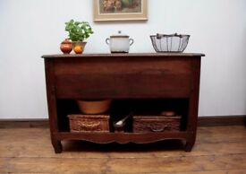 19th Century French Oak Bakers Cabinet, Deli Counter Kitchen Island Unit c1830