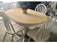 Lovely shabby chic oval dining table and 4 chairs