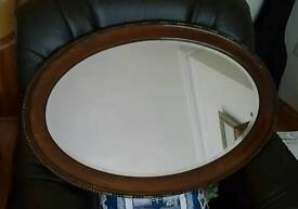 Mahogany framed mirror large overmantle bevelled and beaded edge solid wood