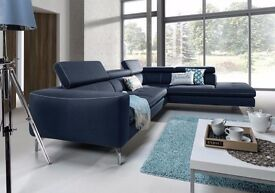 AREZZO's modern corner sofa with comfortable backrests is equipped with adjustable head rests