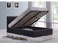 **FREE DELIVERY** DOUBLE LEATHER STORAGE OTTOMAN GAS LIFT UP BED FRAME WITH MATTRESS OF CHOICE SMALL
