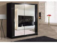 **7-DAY MONEY BACK GUARANTEE!**- Exquisite Full Mirrored Chicago Sliding Door German Wardrobe