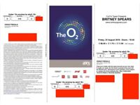 2 X Britney Spears tickets - Friday 24 August - The O2 Arena London