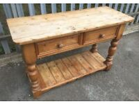 Rustic Pine Farmhouse Butchers Table FREE DELIVERY Vintage Drawer Unit Sideboard Block Worktop Prep