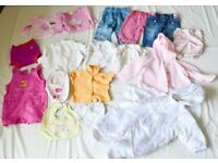 Baby girl bundle size 3-6 moths Trousers, tops, pram suit, cardigans bibs and swimming pants