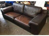 Large dark brown leather 2 seater sofa DELIVERY AVAILABLE