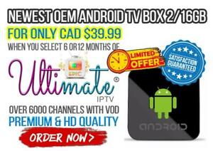 Mega Sale Canada - OEM Android TV Box 2/16GB with 6-12 MONTHS PREMIUM ULTIMATE IPTV - Limited Time