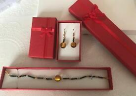 Earrings and bracelet hand made