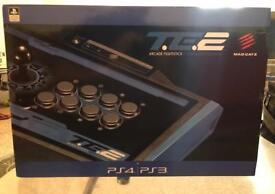 PlayStation 4 & 3 Arcade Fight Stick-Madcatz Black & Blue-Excellent