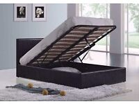 *7-DAYS MONEY BACK GUARANTEE* SINGLE SMALL/DOUBLE KING LEATHER STORAGE OTTOMAN GAS LIFT UP BED FRAME