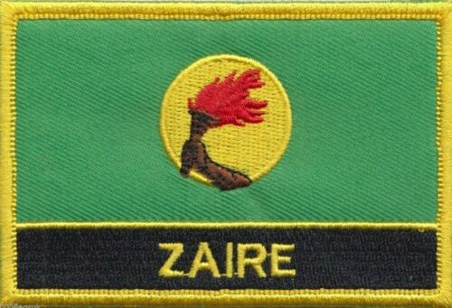 Zaire 1971 to 1997 Flag Embroidered Patch - Sew or Iron on