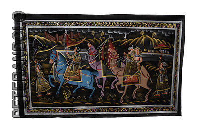 Hanging Wall Painting Mughal on Silk Art Scene de Life India 75x46cm 25