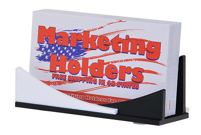 Business Gift Card Holder Curved Polished Black White Display