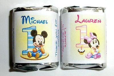 120 BABY MICKEY MINNIE FIRST 1ST BIRTHDAY PARTY CANDY WRAPPERS LABELS - Baby Minnie First Birthday