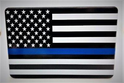 BLUE LINE AMERICAN FLAG, Trailer Hitch Cover, 3x5, UV, Made