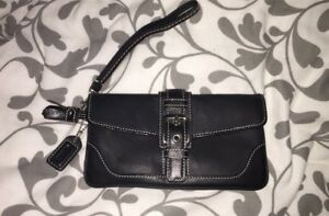 Brand new Black Leather Authentic Coach Wristlet