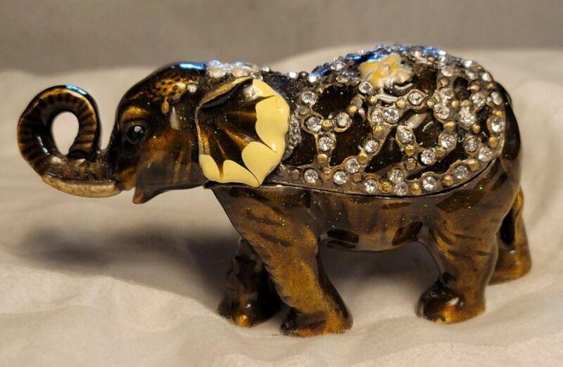Elephant Jeweled Enamel Trinket Box