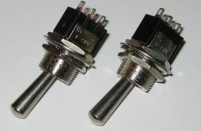 2 X Mini Toggle Switch With Large Handle - Spdt 6 A - 125 V - On-on - 3a 250v