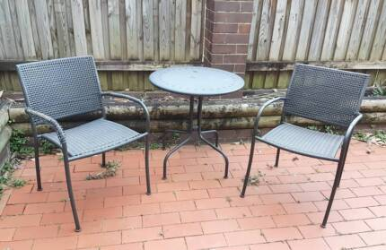 Ikea outdoor chairs, table and umbrella
