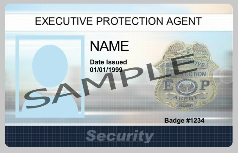 Executive Protection Agent Security PVC ID Card With Mini Badge