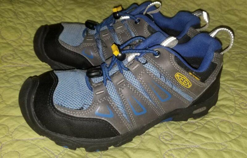 Youth Boys Keen Oakridge Low Waterproof Hiking Shoes Size 2 Magnet/true Blue