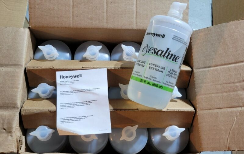 (Case of 12) HONEYWELL 32 Ounce Bottle Eye Saline Eye Wash Solution Refill