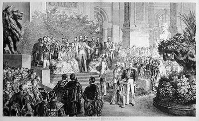 Sisi, Sissi, Kaiserin, Eröffnungsfeier Weltausstellung , Orig-Holzstich von 1873