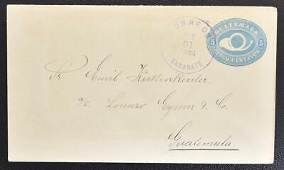 GUATEMALA 1894 nice UPU Posthorn Stationery Cover SANARATE to G-City Must LOOK