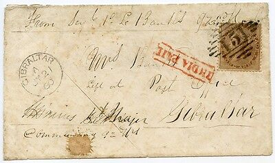 """India, 1858 cover with 1a issue """"Soldiers Letter"""" to Gibraltar from Agra."""