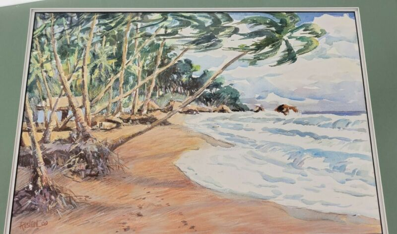 Trevor Rostant 1919-2012 Watercolor And Pastel Painting Trinidad Tobago Artist