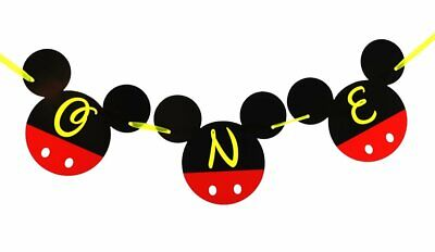 Mickey Mouse 1st Birthday Decorations (Mickey Mouse 1st Birthday Banner | ONE Birthday Banner | Happy Birthday Banner)