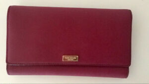 Beautiful burgundy leather Kate Spade clutch