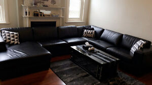 Black Leather corner suit , coffee table and a tv unit Rockdale Rockdale Area Preview