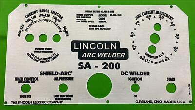 Lincoln Electric Welder Laser Etched Sa-200-163 L-5171 Aluminum Control Plate