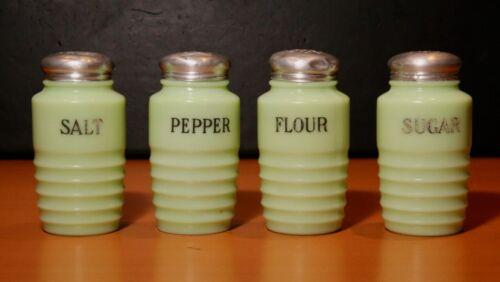 Vintage Deco Glass Ribbed Jadite Salt/Pepper/Flour/Sugar Shaker Set c.1930