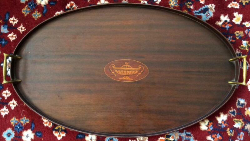 Antique 18th C Hepplewhite inlaid wood Large Tray neoclassical Sheraton Georgian