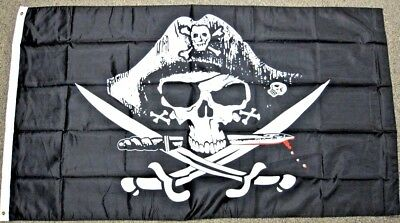 Mens Jolly Roger - Dead Man's Chest Pirate Flag 3x5 ft Jolly Roger Sabers Swords Deadman Poly