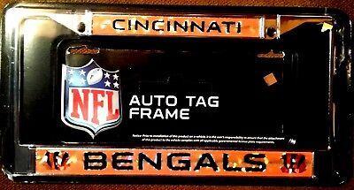 CINCINNATI BENGALS License Plate Frame Laser Cut Refractive Logo New  Cincinnati Bengals License Plate Frame