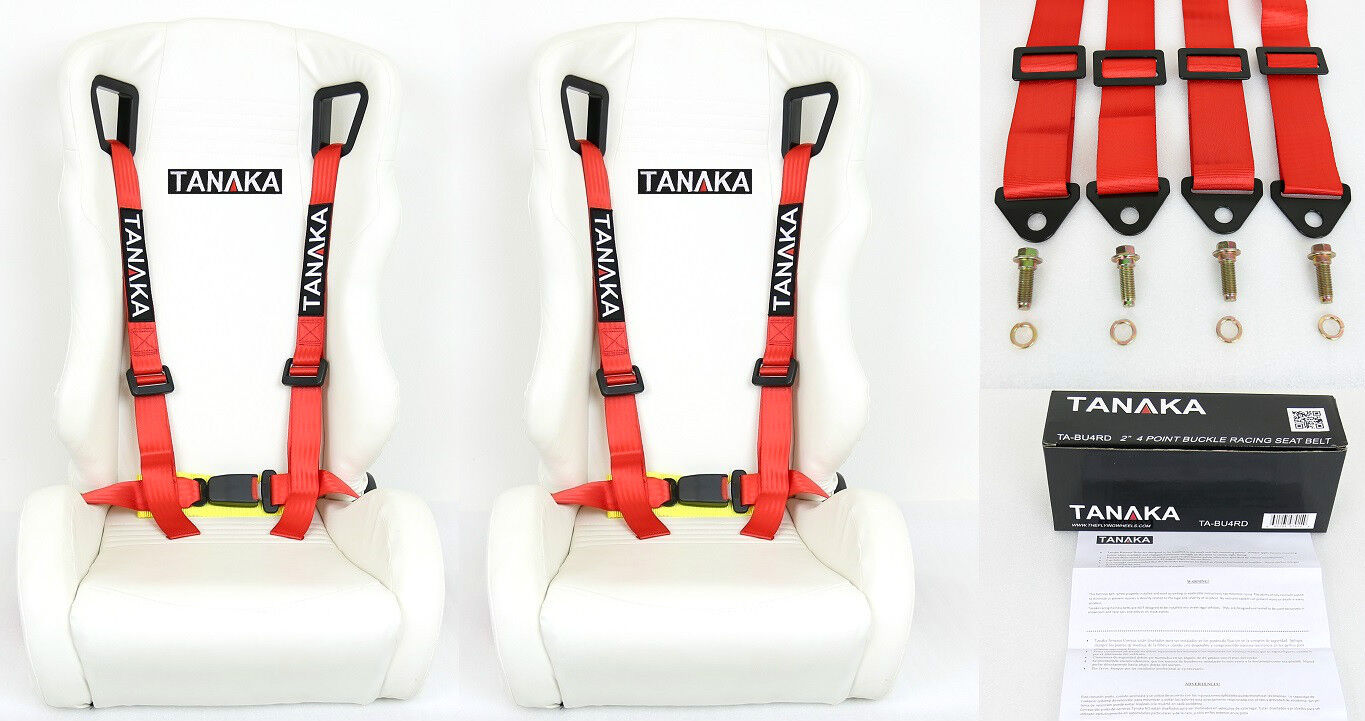2 X TANAKA UNIVERSAL RED 4 POINT BUCKLE RACING SEAT BELT HARNESS 2