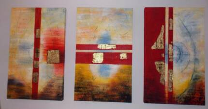 Large Abstract Canvas Artwork - Set of 3pces