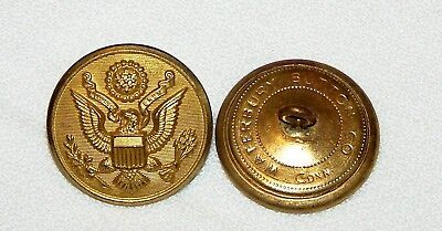 WWII US Great Seal overcoat buttons Waterbury 1 1/8in 8mm 45L Lot of two B4135
