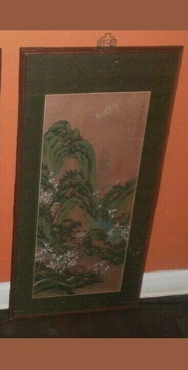 Han Palace Art Co. Batik Scroll Framing Oil Painting Wood Carving Panel Summer